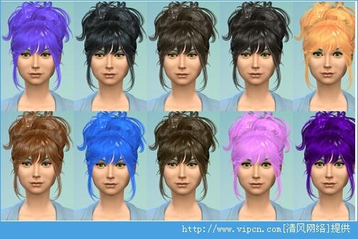 《模拟人生4》女性盘发改色MOD