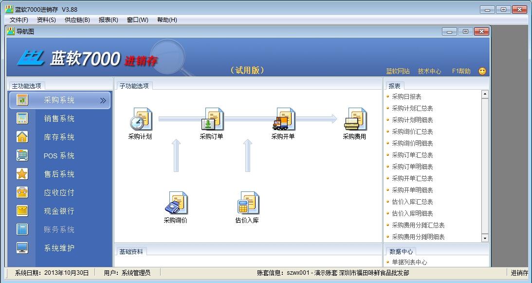 蓝软7000进销存财务一体化官方版 V3.92 安装版