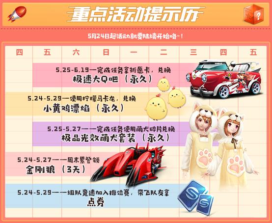 QQ飞车手游5月版本更新活动汇总:永久赛车、免费漂焰免费领[多图]